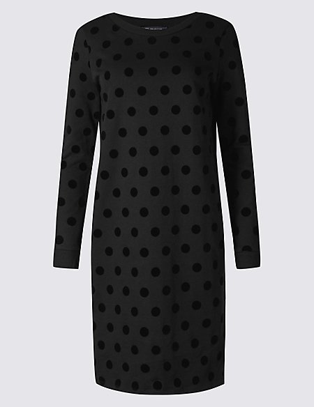 Pure Cotton Spotted Long Sleeve Shift Dress
