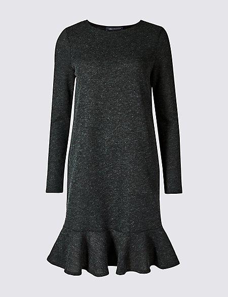 Textured Long Sleeve Shift Dress