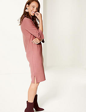 Cotton Blend Funnel Neck Shift Midi Dress