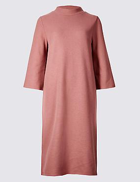Cotton Blend Funnel Neck Shift Dress