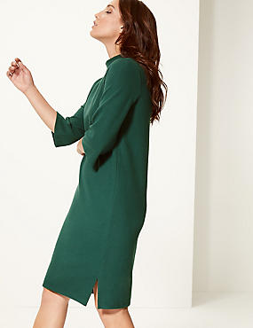 Cotton Blend Funnel Neck Shift Dress