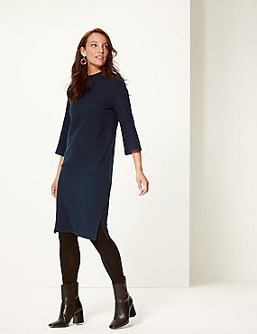 Cotton Blend Funnel Neck Shift Dress  , NAVY, catlanding