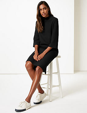 Cotton Blend Funnel Neck Shift Dress  , BLACK, catlanding