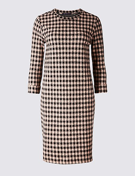 Cotton Blend Checked 3/4 Sleeve Shift Dress