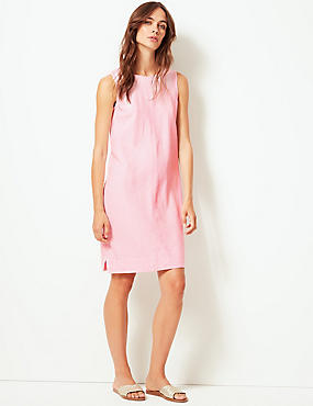 Linen Blend Round Neck Shift Dress