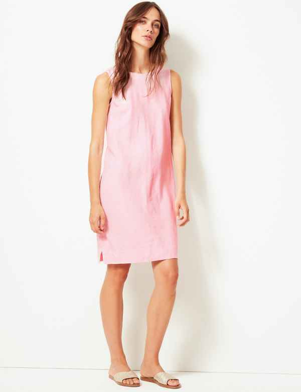 5ff8a28f686 Linen Blend Shift Dress