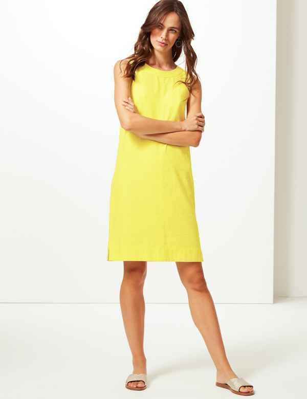 6531bb901bce Linen Mix Dresses | Linen Mix Tunic Dress for Women | M&S