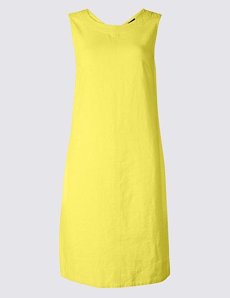 Linen Blend Round Neck Shift Dress
