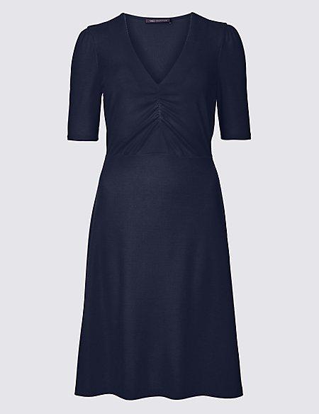 Textured Half Sleeve Tea Dress