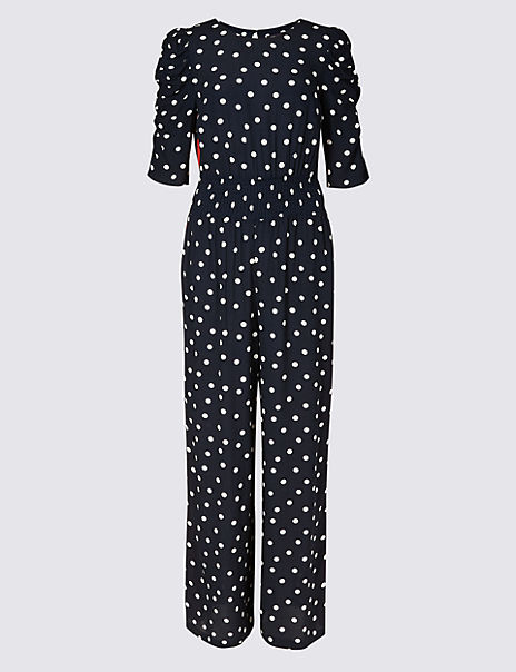 Spotted Smock Waist Ruched Sleeve Jumpsuit
