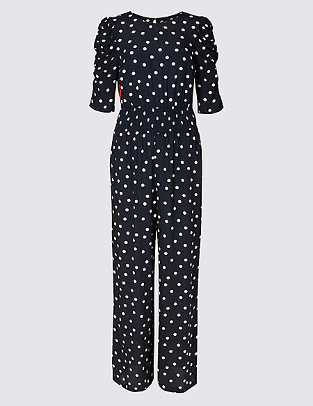 spotted smock waist ruched sleeve jumpsuit m s collection m s