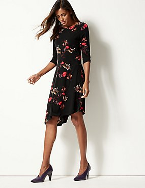 c9588a470a5d Floral Print Round Neck Skater Midi Dress