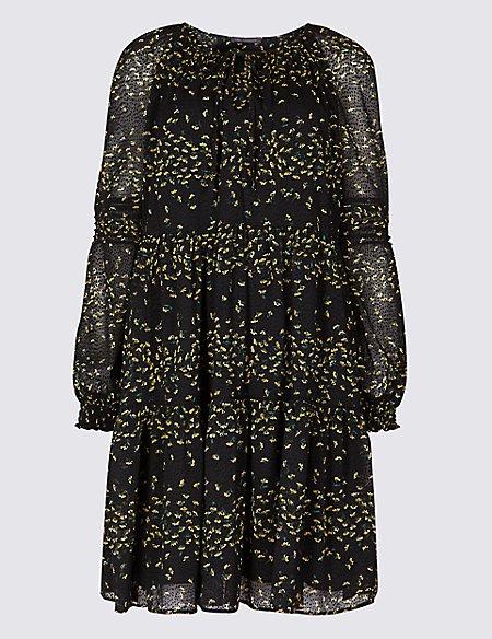 Floral Print Long Sleeve Drop Waist Dress