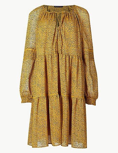 Spotted Drop Waist Mini Dress