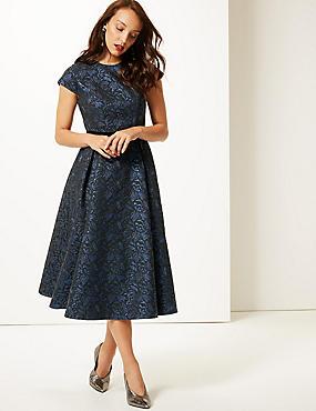 Floral Print Cap Sleeve Skater Midi Dress