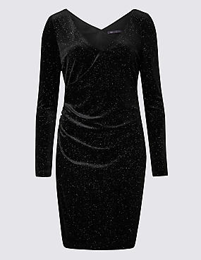 Sparkly Jersey Long Sleeve Bodycon Dress