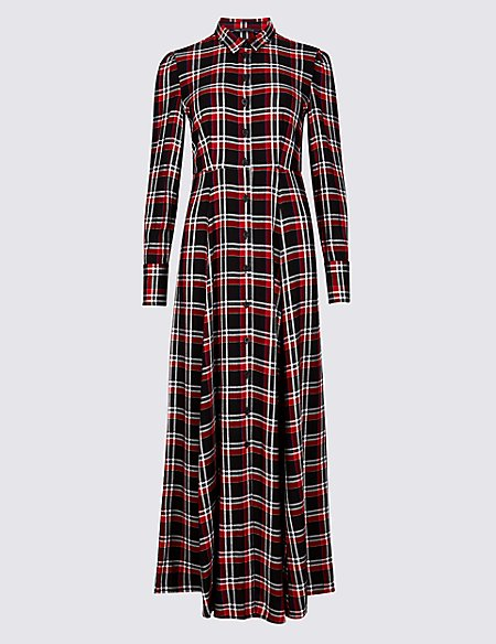 Checked Long Sleeve Shirt Maxi Dress