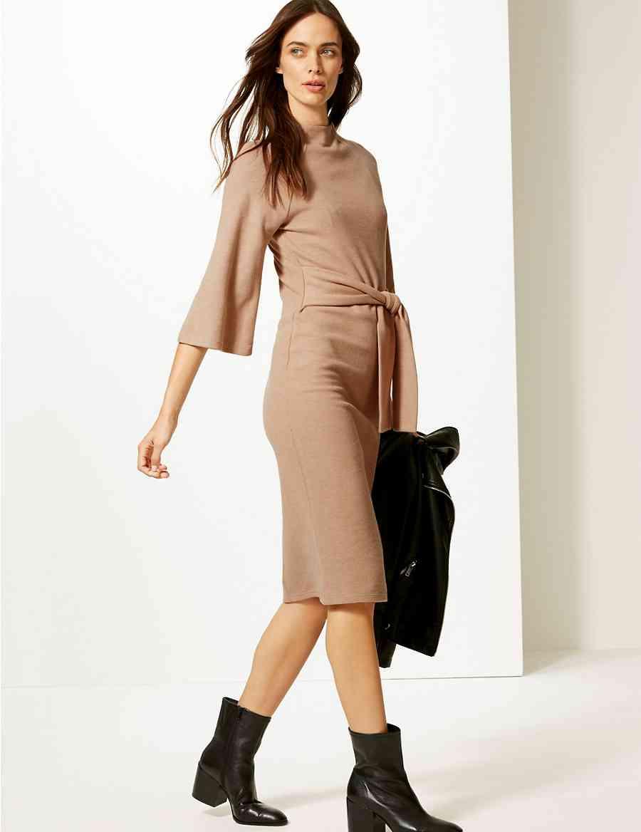 Tie Front 3 4 Sleeve Shift Dress  9c1e74f88