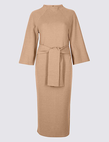 Tie Front 3/4 Sleeve Shift Dress