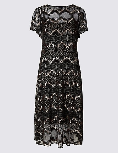 Lace Short Sleeve Swing Midi Dress