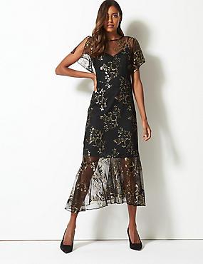 88b2303777ae Short Sleeve Fishtail Tea Midi Dress ...
