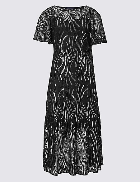 Lace Short Sleeve Midi Dress