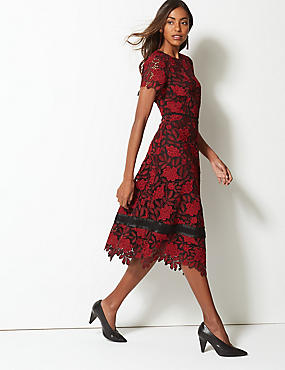 Lace Fit & Flare Midi Dress, RED MIX, catlanding