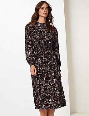 Spotted Long Sleeve Skater Midi Dress