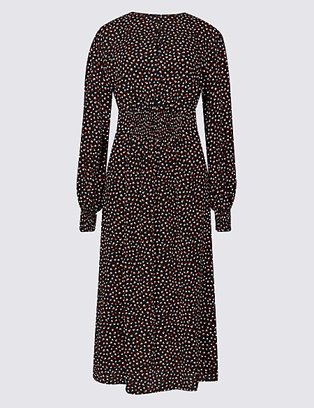 Spotted Long Sleeve Skater Midi Dress