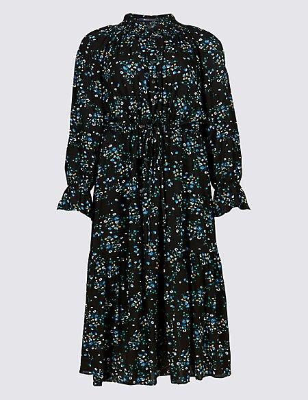 Floral Print Drop Waist Midi Dress