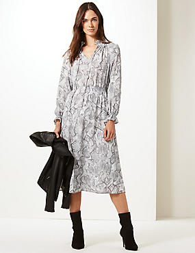 Animal Print Long Sleeve Shift Midi Dress