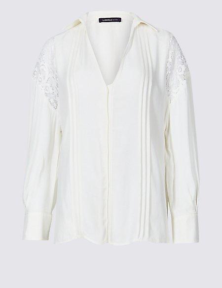 V-Neck Long Sleeve Blouse