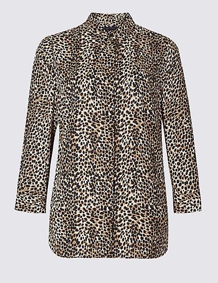 CURVE Animal Print Long Sleeve Shirt