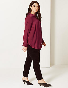 CURVE Notch Neck Long Sleeve Blouse