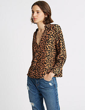 Animal Print Notch Neck Blouse
