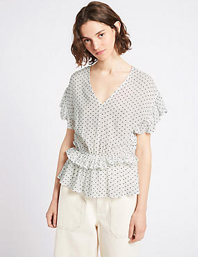 Spotted Dobby V-Neck Short Sleeve Blouse