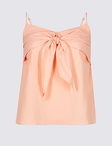 Cotton Rich Textured V-Neck Vest Top
