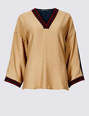 Textured V-Neck Long Sleeve Blouse