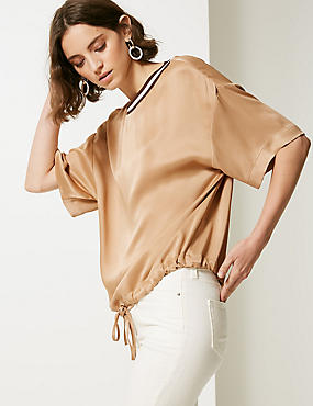Round Neck 3/4 Sleeve Shell Top