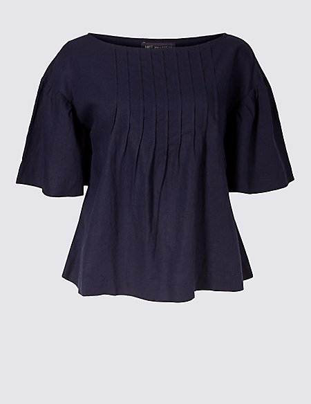 Linen Rich Slash Neck Half Sleeve Blouse