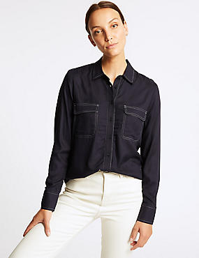 Contrasting Stitch Long Sleeve Shirt