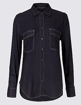 Contrasting Stitch Long Sleeve Shirt