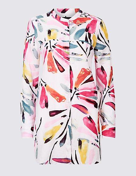 Linen Rich Printed Long Sleeve Shirt