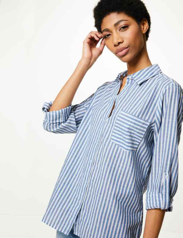 a7ccb1f9 Pure Cotton Striped Button Detail Shirt