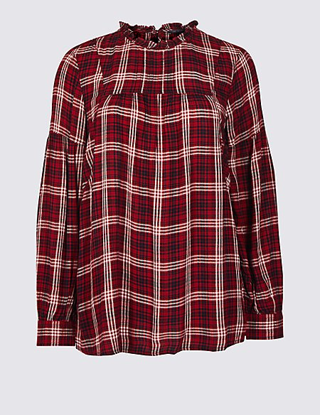 Checked Round Neck Long Sleeve Blouse