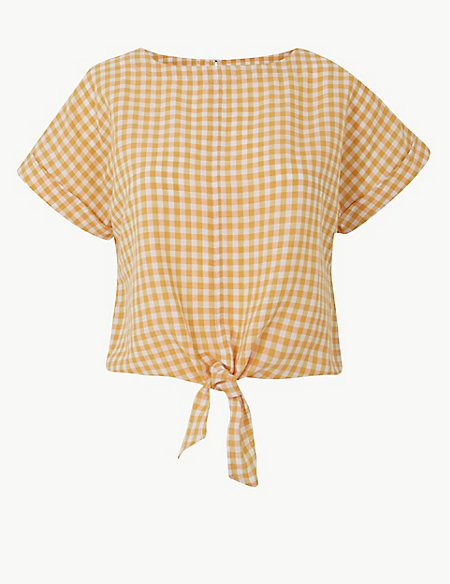 Linen Rich Checked Tie Front Blouse