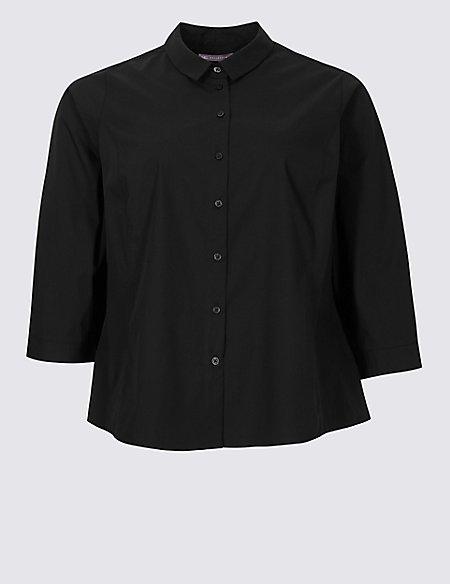 CURVE Cotton Rich 3/4 Sleeve Shirt