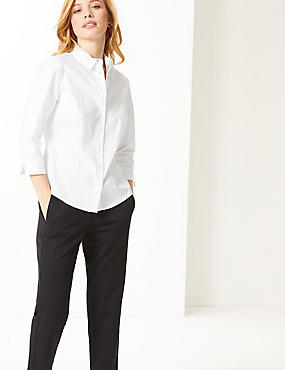 PETITE Cotton Rich 3/4 Sleeve Shirt