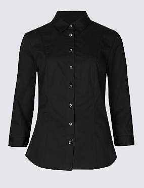 Cotton Rich Split 3/4 Sleeve Shirt