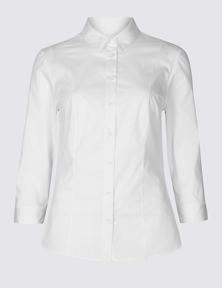 Cotton Rich Split 3/4 Sleeve Shirt